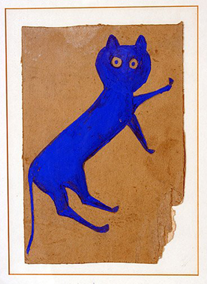 An artwork by one of America's premier self-taught artists is the circa 1939-1942 color on cardboard painting titled 'Blue Cat' by Bill Traylor (1854-1949). Sold for $37,500 at Slotin's May 5, 2007 auction. Image courtesy of LiveAuctioneers.com Archive and Slotin Folk Art.